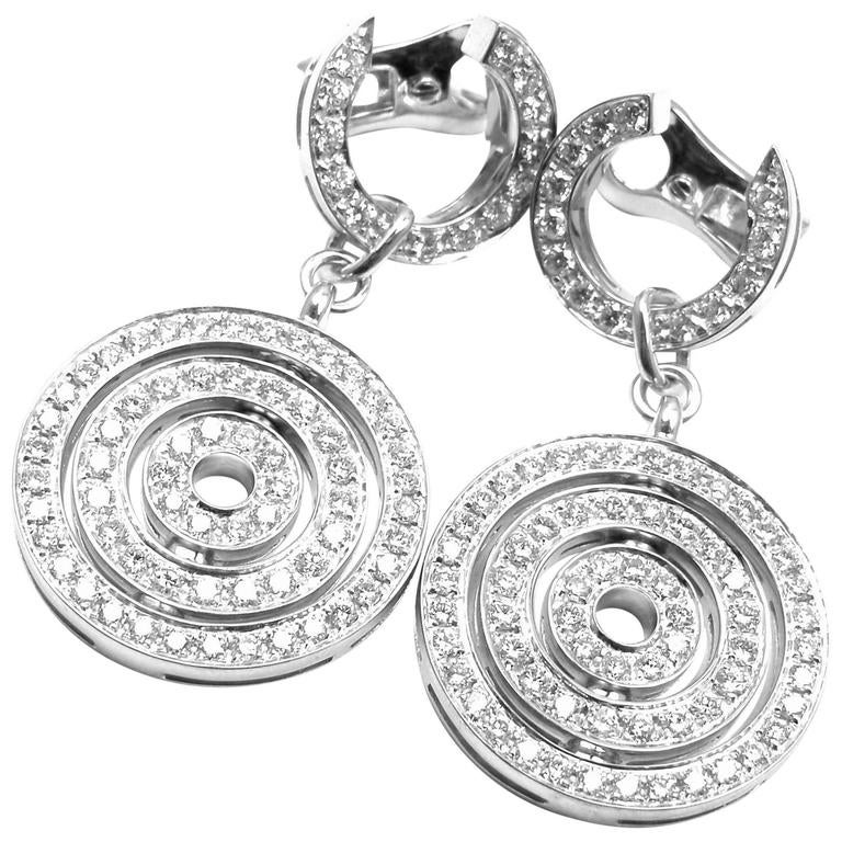 Bulgari Astrale Full Diamond Drop White Gold Earrings