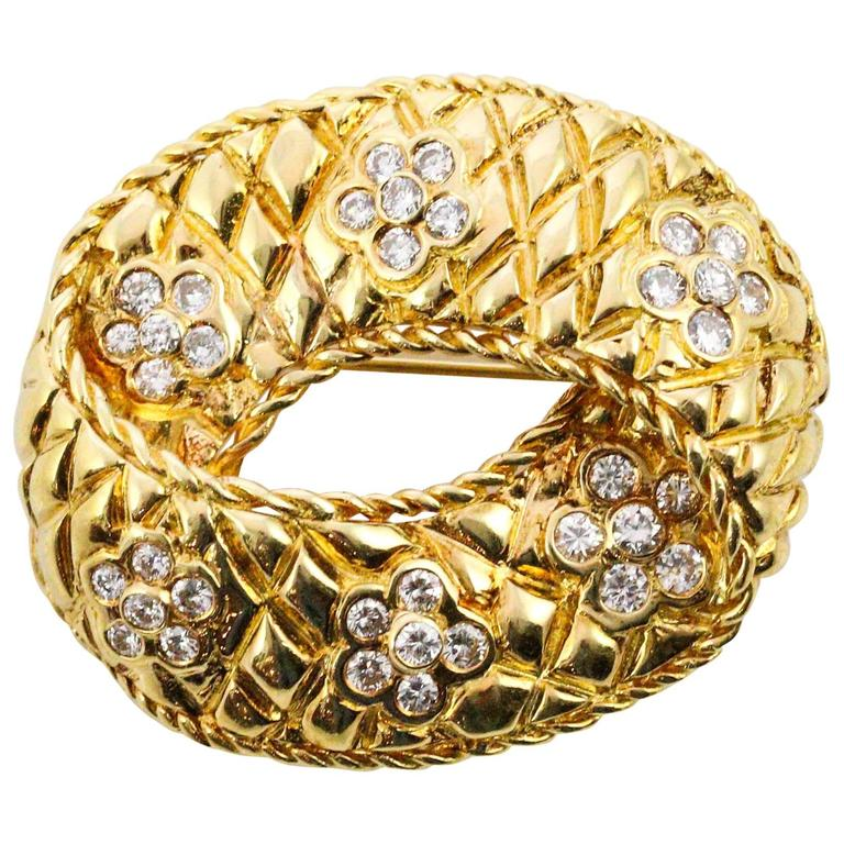 Modernist Diamond Yellow Gold Brooch For Sale