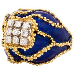 18 Karat Blue Enamel Diamond Ring