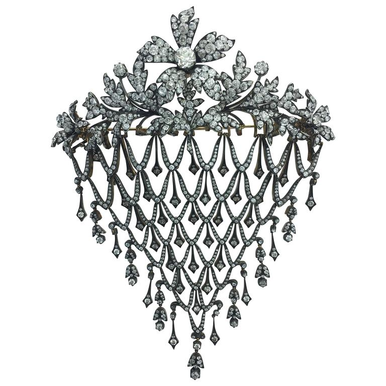 Impressive Diamond Flower En Tremblant Stomacher Hair Ornament Brooch 1