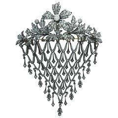 Impressive Diamond Flower En Tremblant Stomacher Hair Ornament Brooch