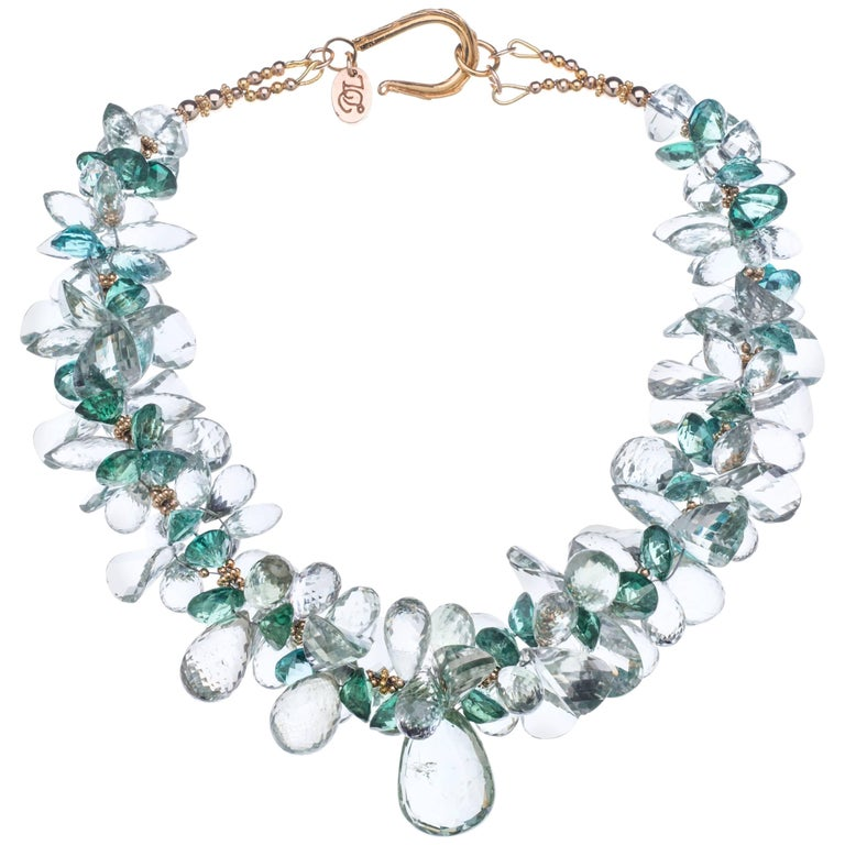 Deborah Liebman Green Amethyst Green Topaz and Gold Necklace