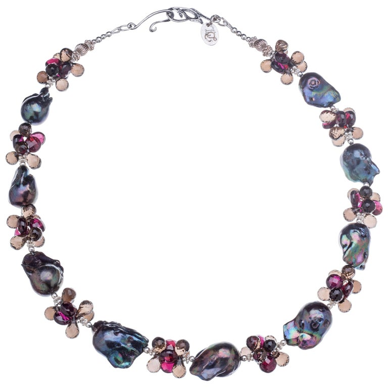 Deborah Liebman Black Pearls Garnet Smoky Quartz Sterling Sliver Necklace