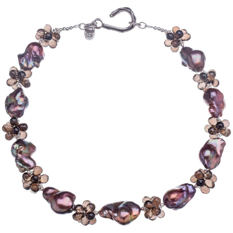 Deborah Liebman Pearls Smoky Quartz and Sterling Silver Necklace For Sale