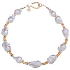 Deborah Liebman White Baroque Pearls and Gold Necklace