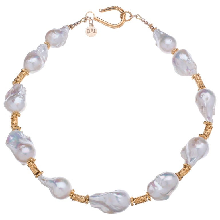 Deborah Liebman White Baroque Pearls and Gold Necklace