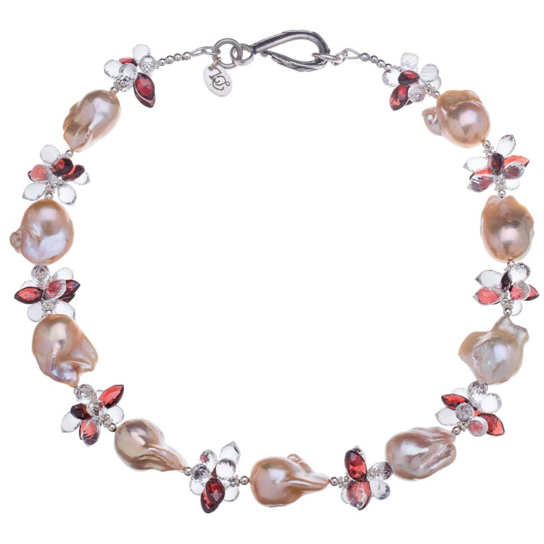 Deborah Liebman Peach Pearls Garnet Quartz Sterling Necklace