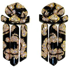 Marina B Black Enamel Diamond Gold Earrings