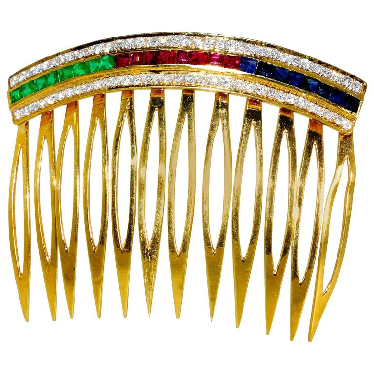 Ruby Emerald Sapphire Diamond Gold Hair Barrette