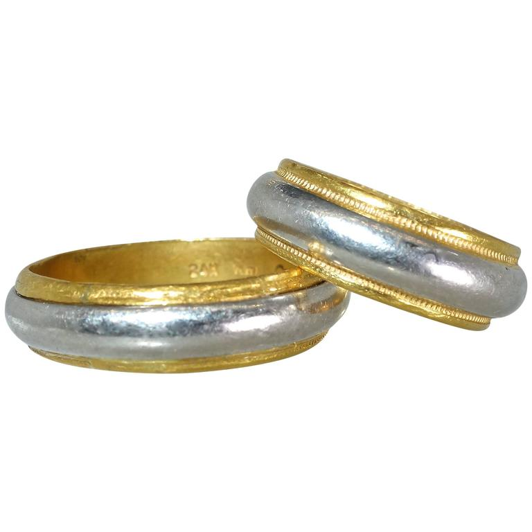 Cartier Gold Platinum Wedding Band Rings
