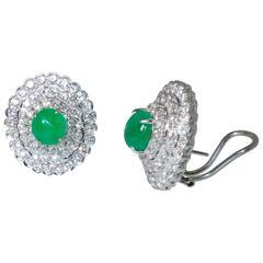 Diamond and Emerald Earrings
