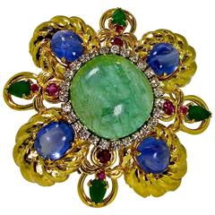 1960s Large Multi Stone Gold Brooch