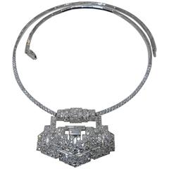 Art Deco Diamond Platinum Pendant Necklace, circa 1930