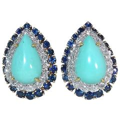 Turquoise Diamond Sapphire Yellow and White Gold Fine Earrings