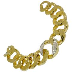 Diamond Gold Curb Link Bracelet
