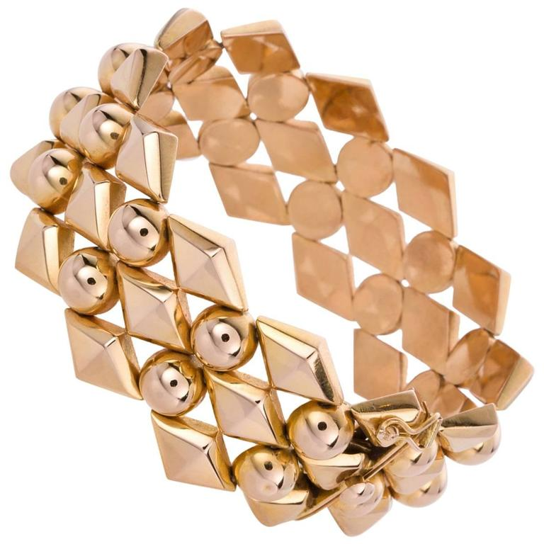 18 Karat Yellow Gold Retro Link Bracelet