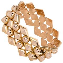 18 Karat Yellow Gold Retro Link Bracelet