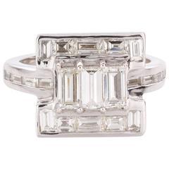 Baguette Cut Diamond White Gold Dress Ring