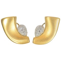 Marlene Stowe Crescent Earrings with Pave Diamonds