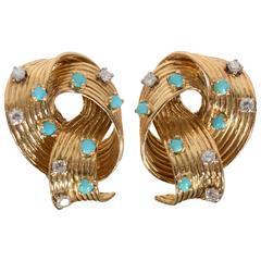 Turquoise Diamond Gold Looped Earrings
