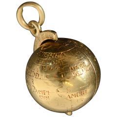 Antique Hidden Seal Fob World Globe Pendant
