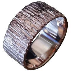18 Karat Rose Gold Bark Ring