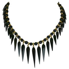 Lovely Victorian Onyx Tear Drop Collar