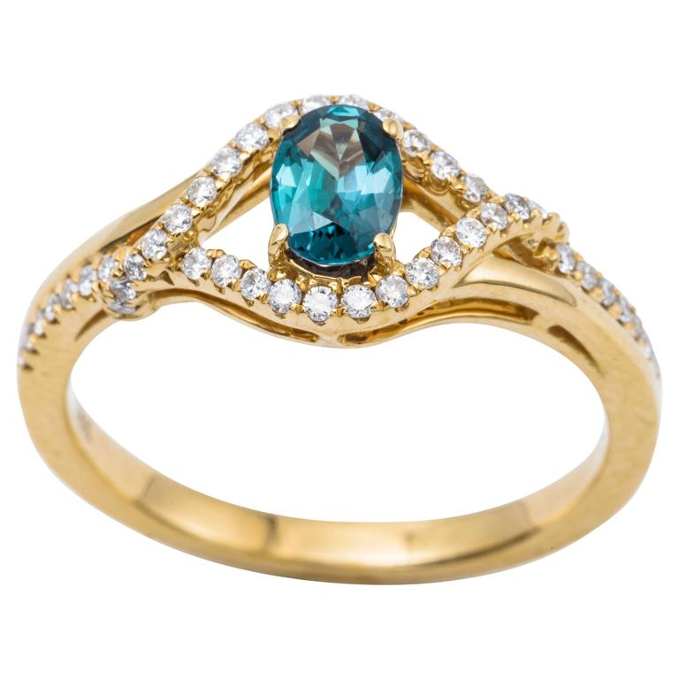 Alexandrite Yellow Gold Ring For Sale