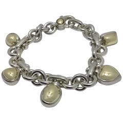 Silver and Gold Bracelet with heart charms