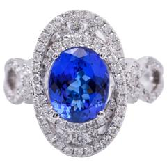 3.67 Carat Tanzanite Diamonds White Gold Cocktail Ring