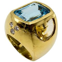 Striking Topaz Citrine Gold Ring