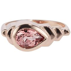 Cushla Whiting Art Deco Style Peach Spinel in Rose Gold 'Skyline' Ring