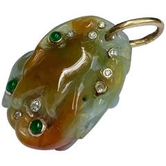 Emerald Diamond Hand-Carved Natural Jade Gold Pendant
