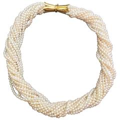 Cultured Pearl Collier Torsade Gold Necklace