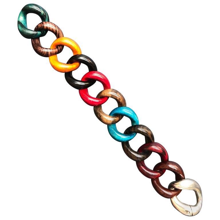 Wood Silver Link Bracelet