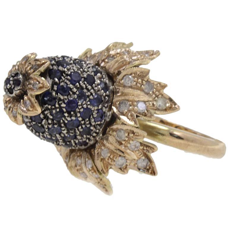 Diamond and Blue Sapphire Flower Ring
