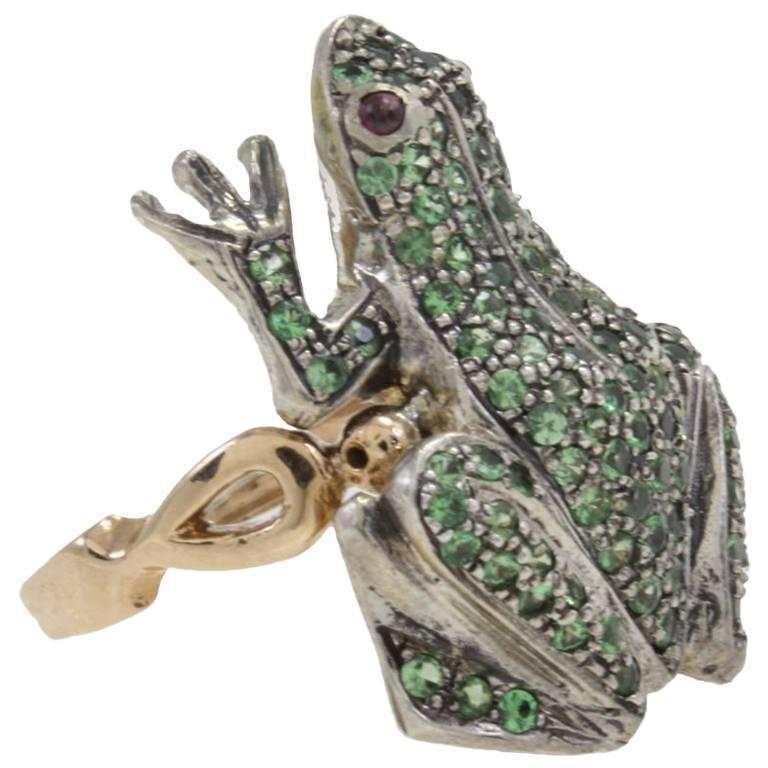 Tsavorite and Garnet Fashion Frog Gold Ring