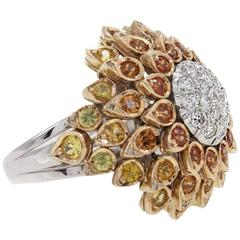 Multicolored Sapphires Diamonds White and Yellow Gold Ring