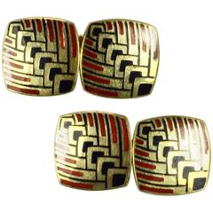 French Art Deco Enamel Gold Cufflinks, circa 1915
