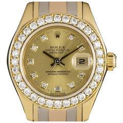 Rolex Ladies Diamond Yellow Gold Bezel Datejust Pearlmaster Tridor Wristwatch
