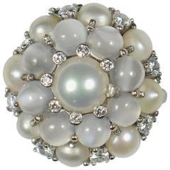 Cat's Eye Moonstone Pearl White Gold Bombe Ring