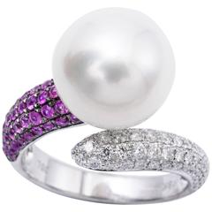 South Sea Pearl Pink Sapphire Diamond White Gold Cocktail Ring
