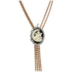Tsavorite Onyx Stone Diamond Silver Gold Necklace