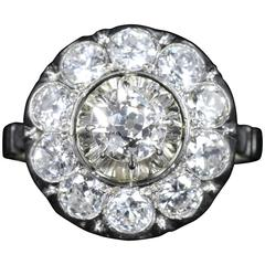 Antique Edwardian Diamond Cluster Ring 18 Carat White Gold 2.60 Carat