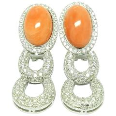 Coral Diamond White Gold Clip-On Ear Pendants Earrings