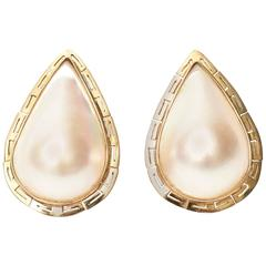 Pair of Mabe Pearl & 14K Yellow Gold Pierced Lever Back Teardrop Earrings