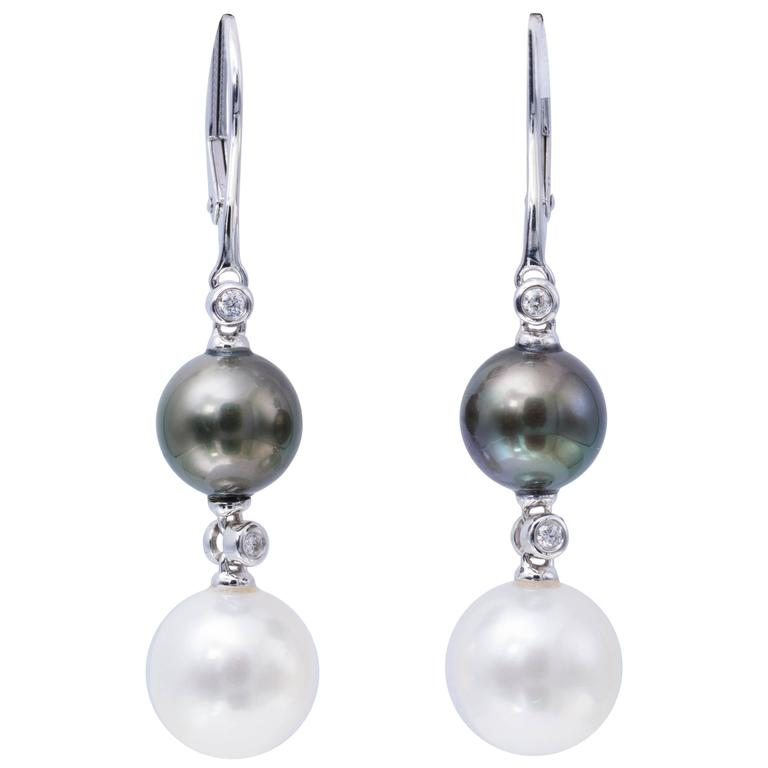 South Sea and Tahitian Pearl Dangle Earrings