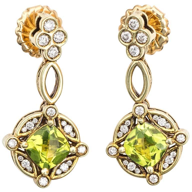 1950s Peridot Diamond 14 Karat Yellow Gold Chandelier Earrings