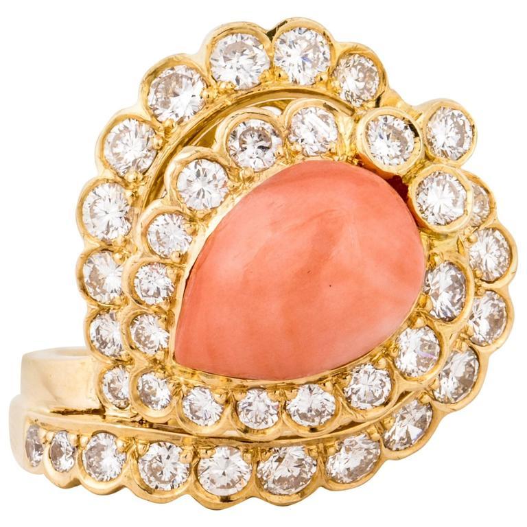 18 Karat Coral Diamond Ring