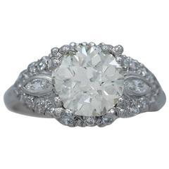 Art Deco 2.05 Carat Diamond Platinum Engagement Ring